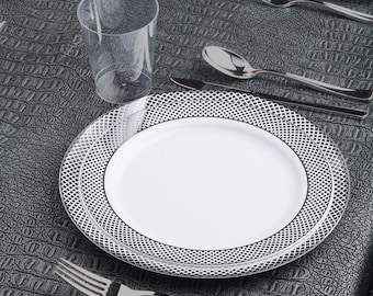Kaya Collection - Deluxe Diamond Silver Disposable Plastic Party Package - Includes Dinner Plates, Salad Plates, Silver Cutlery, Tumblers