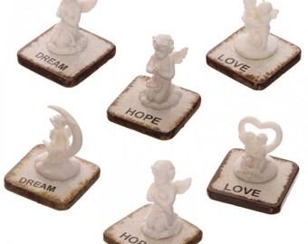 Set of 6 - topics in resin - white cherubs on plate dream, love, hope