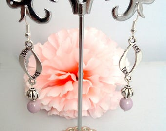 Pearly pink bead and antique silver chandelier earrings