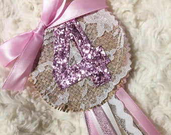 Birthday rosette - any number pretty pink and sparkly
