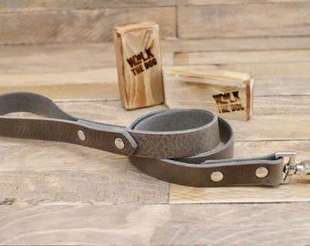 Handmade leash, Wolf-grey dog leash, Leather dog leash, Pet gift, Distressed leather leash, Matching leather leash,