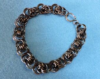 Men's Ocean Wave Design Copper Chainmaille Bracelet