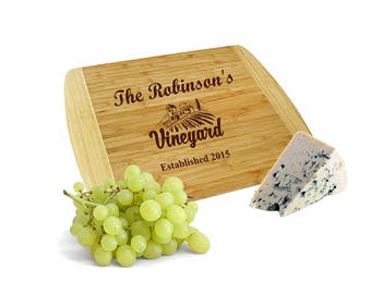 Personalized Large Vineyard Cutting Board - Large Wood Cutting Board - Customized Family Chopping Board - Laser Engraved Cheese Board