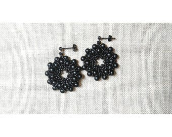 BACK TO BLACK, Japanese beads earrings