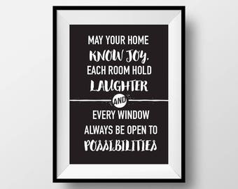 May each room know joy, Wall Art, Quote Poster, Home Decor, Inspirational, Gifts for Friends, House Warming