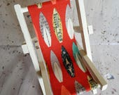 Smart Phone Stand-Novelty Deck Chair-Surfboard Fabric-iPad Stand-Wedding Favour-Gift for Him-Gift for Her-Gift for Teens-Stocking Filler.