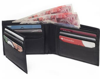 Luxury Mens Soft Leather Bifold Credit Card Holder Purse With 12 C/Card Slots-Black/Brown