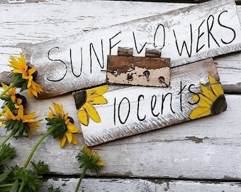Farm stand inspired sunflowers for sale sign
