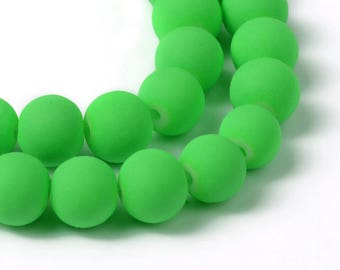 8 mm Lime Green Rubberized Glass Beads (1982)