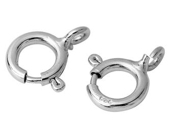 2 Sterling Silver Bolt Spring Ring Clasps 9x7mm (B283s)