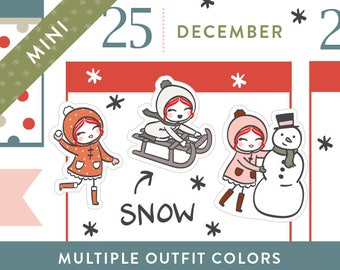 P419 - Snow day planner stickers, Christmas planner stickers, winter stickers, snowman, sledding, snowball fight, 32 stickers, MINI size