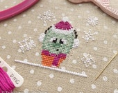 Snowflake the Cactus Cross Stitch Pattern PDF | Cute Winter Succulent | Snow | Easy Beginners Counted Cross Stitch | Instant Download