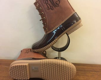 BROWN  Duck boots, Monogram  adult Duck Boots, Rain Boot, Boat-Shoe Style, Shoes,Two Tone,Half Size Small