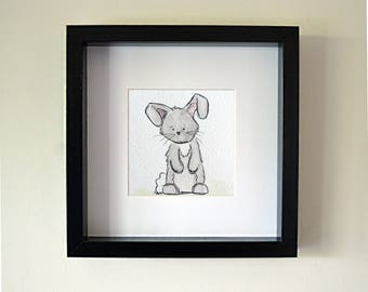 Handmade Rabbit Framed Watercolour