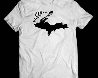 Michigan snowmobile shirt, white, snowmobile shirt, tshirt