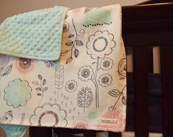 Sparrow Baby Infant Newborn Blanket Cottage Nursery Birds FlowersCrib Bedding for Newborn Baptism Present
