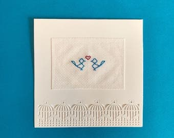 Love birds card - Engagement card - Anniversary card - Valentine's Day card - wedding card - cross stitched card - embroidered card
