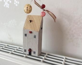 Minature Wooden christmas house decoration