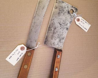 Vintage Nichols Bros. Meat Cleaver and Butcher Knife Set made in the USA