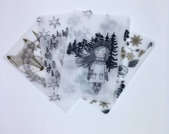Winter girl Vellum travellers notebook dashboard, fox and owl tn dashboard, black and white vellum dashboard, Christmas