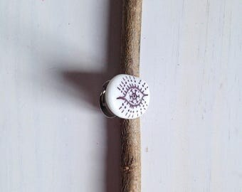 Graphic hand painted Pebble ring