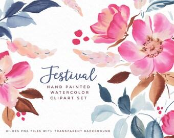 Watercolor Flower Clipart - Festival