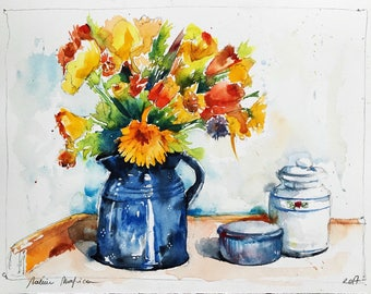 "Original watercolor painting-free shipping ""Bouquet of yellow and orange flowers in a blue pitcher"" (still Life watercolor painting flower)"