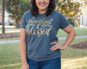 Thankful & Blessed - Thanksgiving Tee - Plus Size - All Sizes