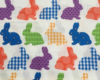 "Plaid Rabbits on White fabric -by the half yard -  44"" wide, 100% cotton - Easter fabric - holiday fabric - bunny fabric"