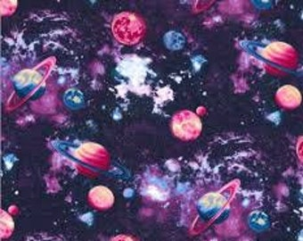 """Planet glitter sky fabric fabric traditions, By the Half Yard, 44"""" wide, 100% cotton, novelty fabric, space fabric, planet fabric"""