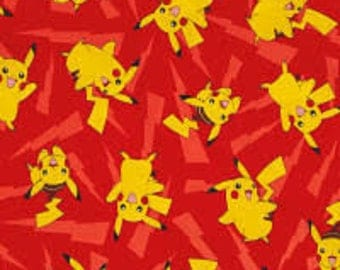"Pikachu with Lightning on Red by Robert Kaufman, By the Half Yard, 44"" wide, 100% cotton, pokemon fabric, pikachu fabric, cartoon fabric"
