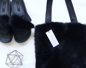 Black rabbit fur Tote bag with leather straps, made to order.
