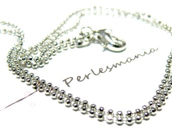 Necklace chain 1 bead 1.2 mm silver plate clasp
