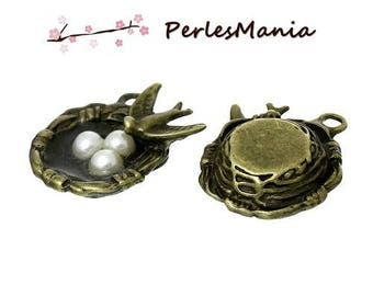 1 charm (S1135893) 3D bird nest BRONZE PENDANTS