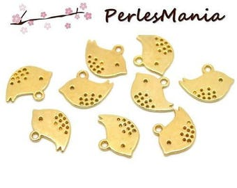 10 pendants bird S 16 mm gold (S115941)