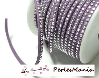 Suede rhinestone studded silver appearance suede cord dangles a faceted purple H106 row