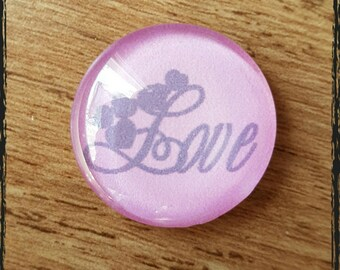 love cabochon 25 mm glass pink lettering