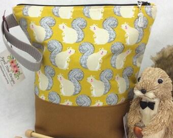 Medium Squirrel Knitting Bag, Knitting Project Bag, Crochet Project Bag, Sock Project Bag