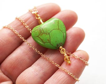 Boho Jewelry Heart Necklace Thin Gold Chain GREEN Heart YELLOW Crystals Colorful Necklace Gift for Gardener Nature Inspiration Green Thumb