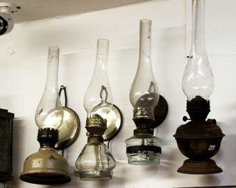 Wall Mounted Vintage Oil Lamp Old Kerosene Lantern Antique Oil Lamp Glass Kerosene Lamp Farmhouse Country Decor Country Chic