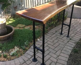 Bar Table with Live Edge Maple or Walnut Wood, Bar Height Sofa Table, Natural Wood, Rustic, Modern Industrial Style, Black Pipe Legs