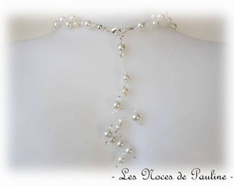 Back ivory beads, six pendants, Victoria, wedding jewelry