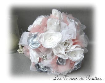 White, pink and grey bridal bouquet flowers Lord