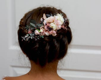 Pastel flower comb Blush pink ivory floral headpiece Bridal hair comb Flower accessories Bridesmaid Outdoor wedding Wedding hair piece