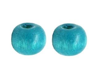 set of 50 wood beads, Royal Blue 8 mm x 7 mm