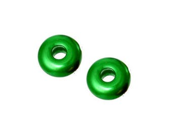 Set of 2 green acrylic beads 18 mm x 9 mm