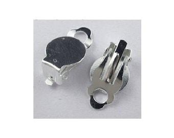 set of 10 clip on earrings silver tone 18mm x 10 mm