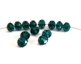 Set of 6 Crystal malachite green glass beads faceted 8 mm