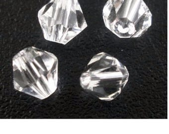 Set of 50 4 mm transparent glass beads