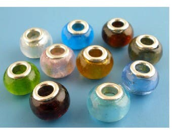 Set of 10 beads in murano glass in mixed colors 14 mm x 10 mm
